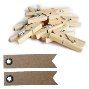 10 mini wood clothespins + 20 pennant...