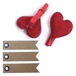 6 Wäscheklammern mit roten Herzen +...