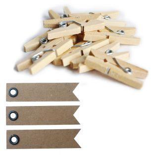 Mini pinzas de madera x 20 + 20...