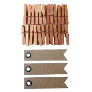 Holz Wäscheklammern 3 cm - Kupfer +...