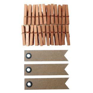 Mini wooden clothespins 3 cm - Copper...