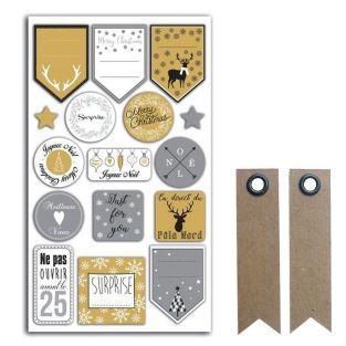 16 stickers pour emballages cadeaux...