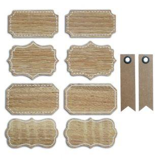 8 baroque wood effect tags + 20...