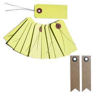 Etiquetas verde-amarillo con alambre...