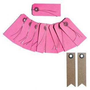 10 étiquettes rose avec fil métal +...