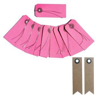 Etiquetas rosa con alambre + 20...