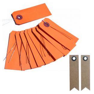 10 étiquettes orange avec fil métal +...