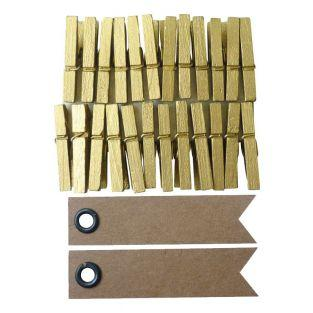 24 mini clothespins - golden + 20...