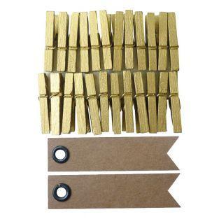 24 mini pinzas de madera doradas + 20...