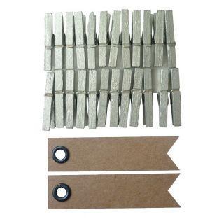 24 mini pinzas de madera plateadas +...