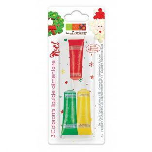 3 colorants alimentaires liquides Noël
