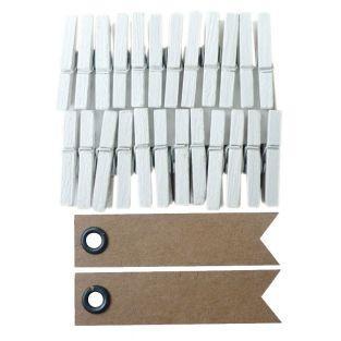 24 mini pinces à linge blanches + 20...