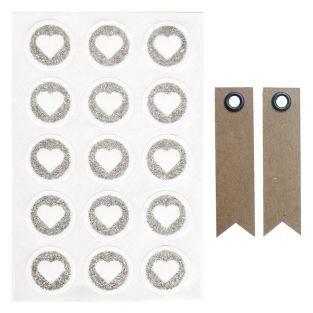 60 runde Sticker Ø 2,6 cm mit Glitzer...
