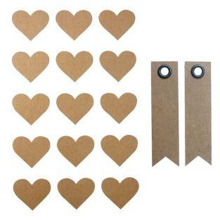 60 stickers coeur kraft 2,6 x 2,2 cm...