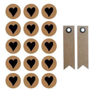 60 stickers ronds Ø 2,6 cm avec coeur...