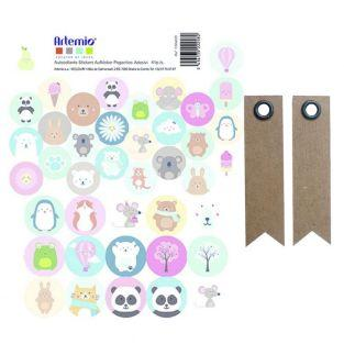 41 stickers ronds naissance Animaux +...