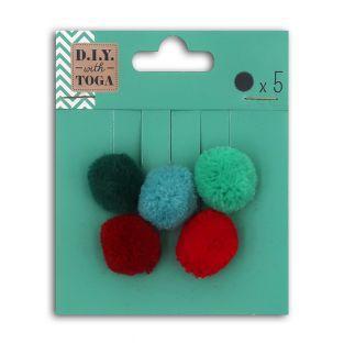 5 Pompons aus roter und grüner Wolle...