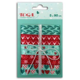 5 Weihnachtsbänder - 90 cm