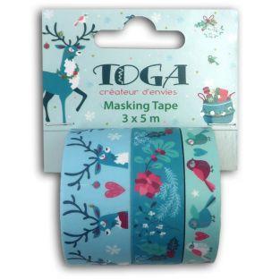 3 Masking tape Christmas Reindeer -...