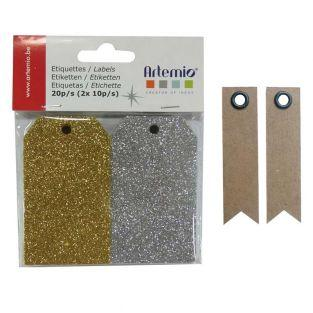 20 tags with gold & silver glitter +...