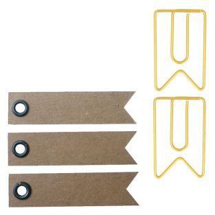 6 Büroklammern - goldene Wimpel 2 x...