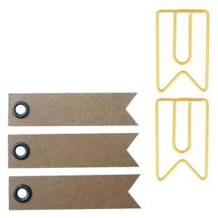 6 Trombones fanions dorés 2 x 3,3 cm...