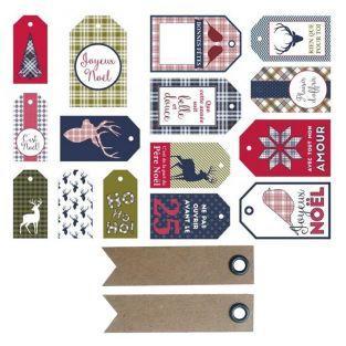 15 etiquetas de Navidad - Escocés +...