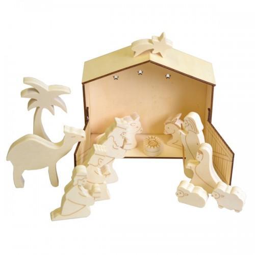 Crèche de Noël en bois à décorer