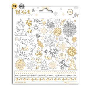 Pegatinas de Navidad oro y plata