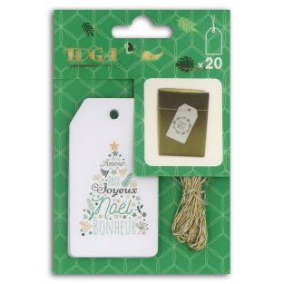 20 Christmas labels with gold string
