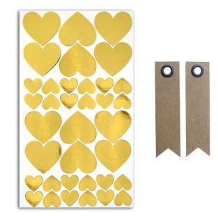 36 stickers cœurs dorés + 20...