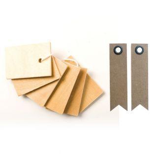 6 etiquetas de madera 4,5 x 3 cm + 20...