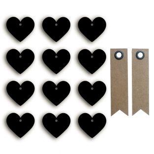 Stickers ardoises petits cœurs + 20...
