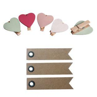 Clothespins x 8 - Hearts + 20 pennant...
