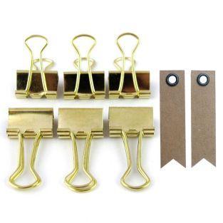 6 clips de papelería - dorado + 20...