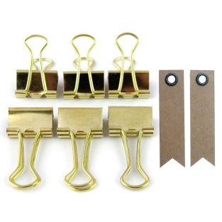 6 wire clips - golden + 20 pennant...