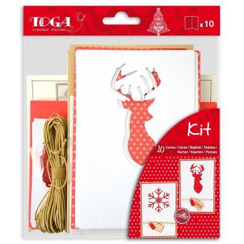 Set 10 tarjetas de Navidad escandinava