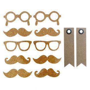 10 Cork Stickers - mustache + 20...