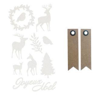 Stickers floqués Cerfs de Noël Misty...