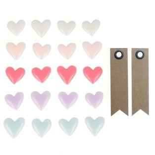 20 enamel stickers - Hearts + 20...