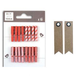Mini clothespins - red + 20 pennant...