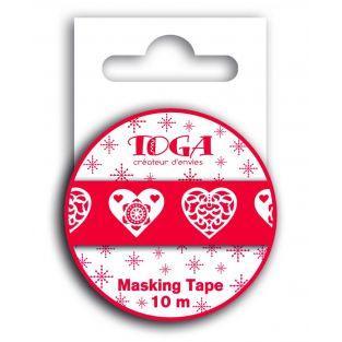 Cinta adhesiva Corazón rojo escandinavo - 10 m