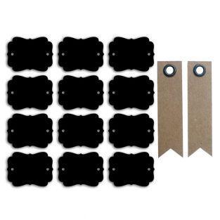 12 etiquetas pizarra perforadas -...