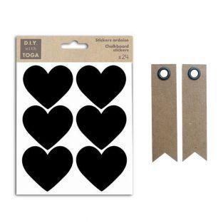 24 stickers ardoise petits Coeurs +...
