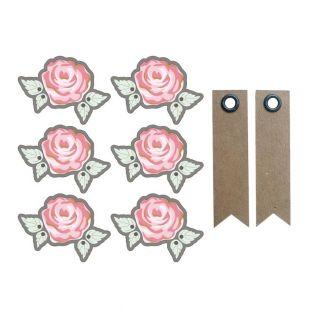 Aufkleber 3D Ø 4 cm - Rose auf grauem...
