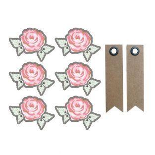 Autocollants 3D Ø 4 cm Rose sur fond...