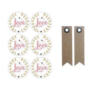 3D Stickers Ø 4 cm - Love on white...