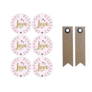 Pegatinas 3D Ø 4 cm - Love sobre...