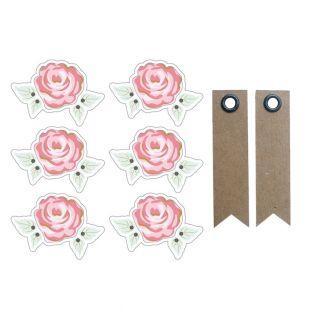 Aufkleber 3D 4 cm - romantische Rosen...