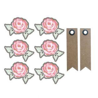 Aufkleber 3D 4 cm - Romantische Rose...